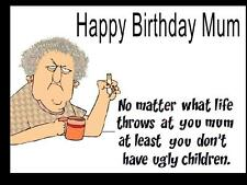UNIQUE FUNNY MUM BIRTHDAY CARD / ENVELOPE PERSONALISED FOR YOU