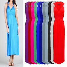 Coil Spring Maxi Dress Ladies Womens Long Stretch Sleeveless Jersey Flared Dress