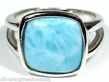 Rare AAA Genuine Dominican Larimar Inlay 925 Sterling Silver Ring size 6 7 8 9