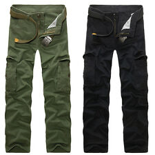 Mens Military Army Cargo Pants Pockets Work Sports Combat Trousers Fitted Slacks