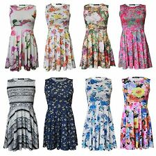 Ladies Floral Print Sleeveless Flared Skate Summer  Dress Regular Plus Size 8-26