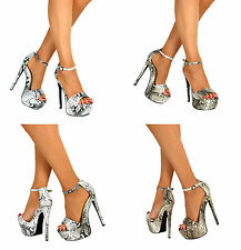 Ladies Peep Toe Strappy Platform Stiletto High Heel Party Sandal Shoes Size 3-8