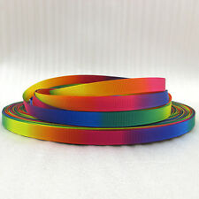 "3/8"" DoubleSide Rainbow Grosgrain polyester ribbon DIY Hairbow sewing 5/50Yards"