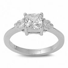 3 Stone Wedding Engagement Ring Sterling Silver 1.50Ct Princess Round Russian CZ