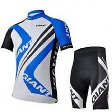 GIANT Blue Mens Cycling Bicycle Full Zip Half Sleeves Jersey n Padded Shorts Set