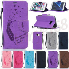 Feather Bird Embossed PU Leather Flip Card Wallet W/ Strap Case Cover for Phones