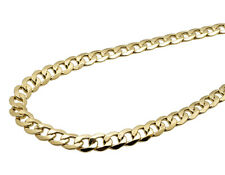 Men's Real 10K Yellow Gold Hollow Curb Cuban Link Chain Necklace 8MM 18-36""