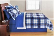 Bed in a Bag Complete Bedding Blue White Plaid Comforter Sham(s) Sheets Skirt