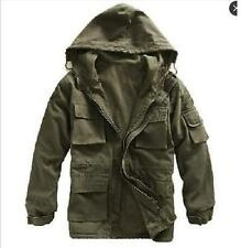 New Mens Warm Outerwear Dust Coat  Jacket Military Canvas Cotton Fleece Hooded