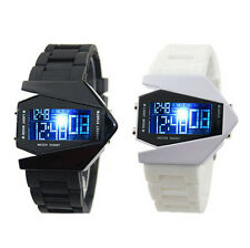 New Fashion Silicone LED Digital Sport Cool Watch Fighter Plane Style Stopwatch