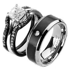 3 Pieces His & Hers Black Stainless Steel cz Wedding Ring Bridal Engagement Sets