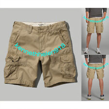 NWT ABERCROMBIE & FITCH MENS LIGHTWEIGHT ZIP FLY CARGO SHORTS KHAKI SIZE 34 A&F