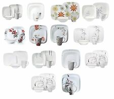 New Square Dinnerware Set  Modern Kitchen Dishes Plates 16 piece for 4 Corelle