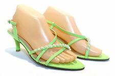 White Pearl Kitten Heels Ankle Strap Open Toe Wedding Formal Bridal Green Shoes