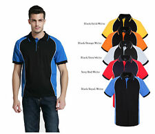 Men's poly cotton contrast panel with piping polo shirts team wear,uniform S-7XL
