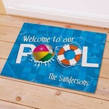 Personalized  Welcome To Our Pool Doormat  Family Name Pool Doormat Door Mat