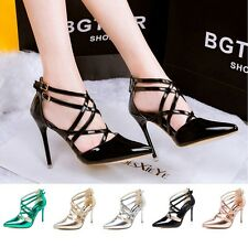 Women High Heels Pointed toe Pumps Criss Cross Strappy Gladiator Sandal OL Shoes