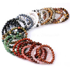 Handmade 8mm Natural Gemstone Round Beads Stretchy Bracelet Healing jewelry