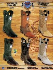 Wild West Men's Rodeo Toe 1/2 Vamp Caiman Belly Cowboy Western Boots Diff.Colors