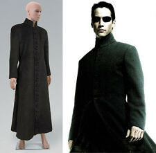 Matrix Neo Black Wool Trench Coat Costume Cosplay Halloween Party