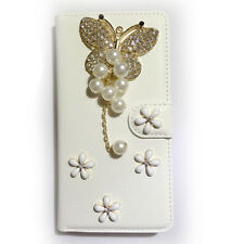 Diamonds butterfly flower crown PU Leather Card Wallet Case Stand Cover For LG