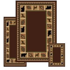 Wildlife Bear Moose Rustic Lodge Cabin Lodge Carpet Area Rug