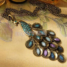 Fashion Vintage Bronze Style Peacock Blue/Green Crystal Chain Pendant Necklace19