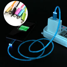 Luxury Rainbow Gradient LED Light Micro USB Data Sync Charger Cable Lead Lot 2A
