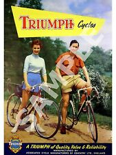 Triumph Cycles 2 : Vintage Magazine cycle advertising  , poster, Wall art.