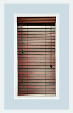 "Custom-Made Mahogany colored, 2"" Real Wood Horizontal Window Blind Inside Mount"