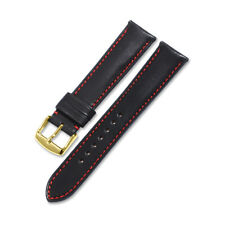 18 19 20 21 22mm Genuine Calf Leather Red Stitch Watch Band Strap For Pebble