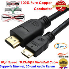 2 x Mini HDMI Type C Cable Video 2m For Tablet PC Full HD 3D HDTV with Ethernet