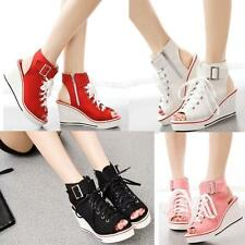 New Womens Peep Toe Platform Canvas Sandals Wedge Heel Sneakers High Top Shoes$@