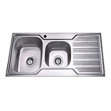 1080 x 480 x 170 mm Stainless Steel Double Bowl Kitchen Sink with Single Drainer