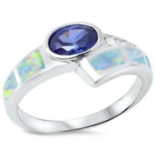 Solitaire Wedding Ring 925 Sterling Silver 1.40CT Lab Opal Tanzanite Russian CZ
