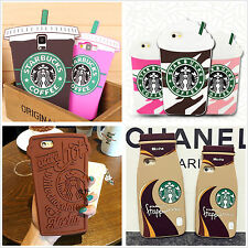 3D Cute Starbucks Soft Silicon Back Case Cover Skin For iPhone 5 6 Plus Samsung