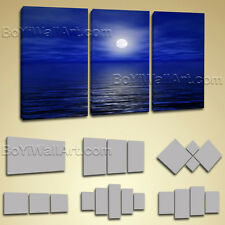 Large Framed Contemporary Abstract Seascape Painting Print Wall Art Canvas Blue