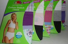 NWT Womens Fruit of the Loom Cotton Stretch 3 Briefs  Sizes 6, 7
