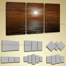 Large Framed Contemporary Abstract Seascape Painting Print Wall Art Canvas Brown