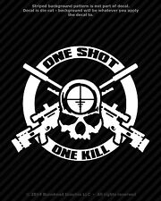 One Shot One Kill Sniper Skull 6.75 in Vinyl Decal Zombie Military Gun Sticker