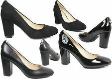 Womens black court shoes ladies mid heels office work formal school shoes
