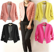 Womens Fashion Slim Fit Candy Color 3/4 Sleeve Blazer Coats Polyester Tops XS~XL