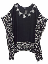 eaonplus BLACK Embroidered BATIK Print Kaftan Tunic Top PLUS SIZES 16 to 32