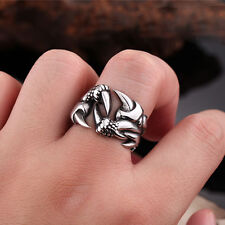 Fashion Mens Jewelry Dragon Claw 316L Stainless Steel Ring Sz 7-13