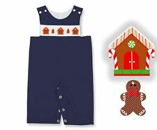 Boys Overalls Blue Smocked Gingerbread Houses Holiday Connies Kids 3m-4T NWT