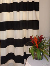 "Black / White Cabana Horizontal Stripe Curtain Panels  Two 25""Or 50"" Wide Panels"