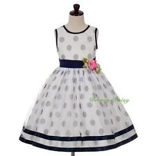 Polka Dot Tulle Wedding Flower Girl Party Formal Dress White Blue Size 3-8 FG359