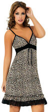 OCTAVE® Ladies Super Soft Sexy Leopard Print Lace Chemise Nightdress Nightie