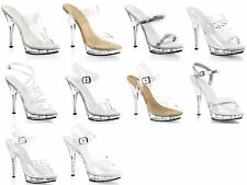 PLEASER Lip-102 106 108 RS SDT Clear Rhinestones Ankle Strap Strappy Mules Heels