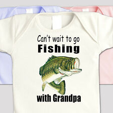 "FISHING Family ""CAN'T WAIT TO GO FISHING WITH GRANDPA"" Kids BASS FISHING SHIRT"